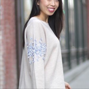 J. Crew Stacked Floret Wool Crew Pull Over Sweater